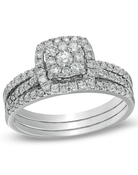 Zales 1 CT T W posite Diamond Frame Bridal Set in 10K White Gold