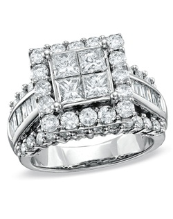 This 3 ct. t.w. princess-cut quad and baguette diamond engagement ring is set in 14K white gold.