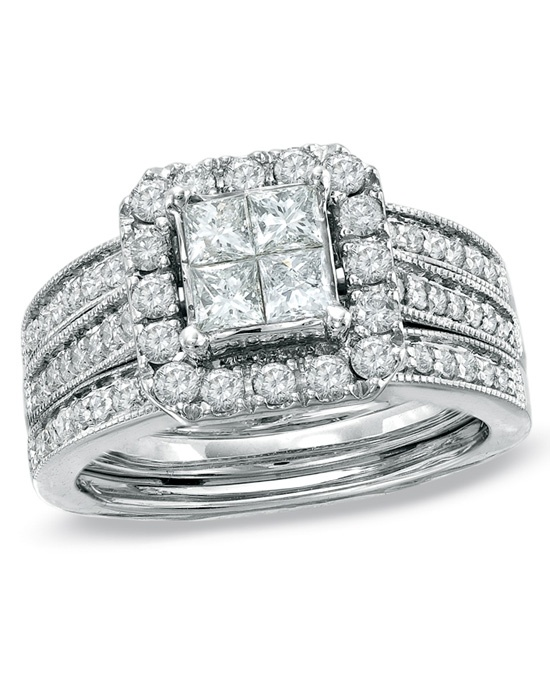 Zales 1 1 2 CT T W Princess Cut Quad Diamond Bridal Set in 14K White Gold 1
