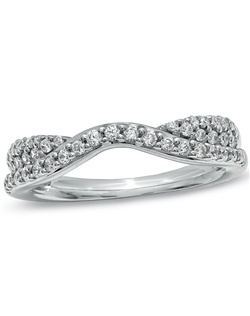 A contemporary style with brilliance and artistry, this double twisted contour band is adorned in glittering round diamonds totaling 3/8 ct. Give her the romantic 14K white gold gift on your wedding day, anniversary or just because she's special to you.