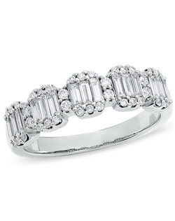 Her unbelievable smile will light up, and her finger will truly sparkle in a 3/4 ct. t.w. diamond ring. Elegantly accented in the delight of round diamonds, this 14K white gold design showcases three sparkling baguette diamonds. Spoil her with total illumination.Center Stone shape:Multi-Baguette