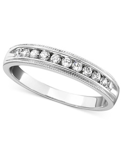 1/4cttw milgrain anniversary band in 14k white gold