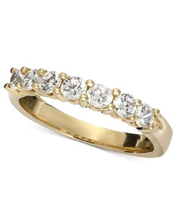 3/4cttw 7stone anniversary band in 14k yellow  gold