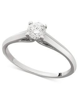 1/3cttw diamond engagement ring, certified, round-cut diamond  in a  18k white gold setting.