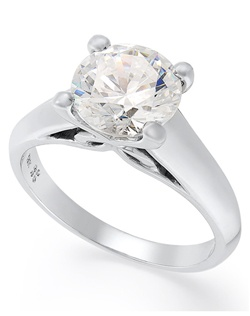 2cttw diamond engagement ring, certified, round-cut diamond  in a  18k white gold setting.