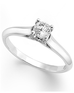 1/3cttw diamond engagement ring, certified, round-cut diamond  in a  18k white gold setting with diamond accent in the x-shape on the side