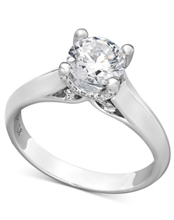 1 1/4cttw diamond engagement ring, certified, round-cut diamond  in a  18k white gold setting with diamond accent in the x-shape on the side