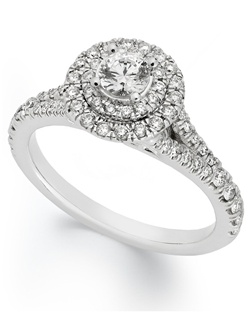 1cttw diamond engagement ring, certified, round-cut diamond center with side stones  in a  18k white gold setting.