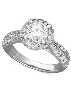 1 1/2cttw diamond engagement ring, certified, round-cut diamond center surrounded by pave-set diamond accents in a  18k white gold setting.