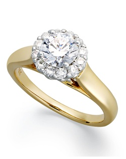 1cttw diamond engagement ring, certified, round-cut diamond center encircled by diamonds in a  18k yellow  gold setting.