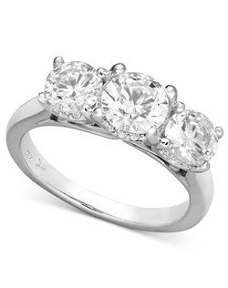 2cttw three stone engagement ring. Features certified, round-cut diamonds set in 18k white gold.