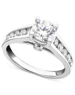 3/4cttw engagement ring, round-cut diamond with round diamonds on the shank  in 14k white gold