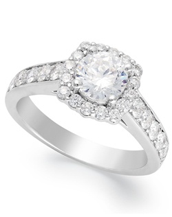 1 1/2cttw engagement ring, round-cut diamond encircled by smaller diamonds  in 14k white gold