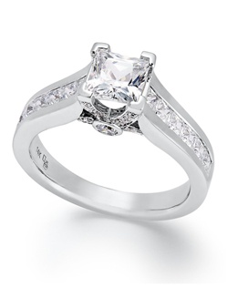1 1/2cttw diamond engagement ring with a princess-cut, certified diamond at center and round-cut diamond accents at the shoulders in 14k white gold