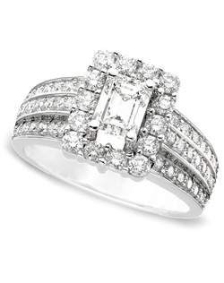 1 3/4cttw diamond engagment ring with a  emerald-cut center surrounded by diamonds in 14k white gold