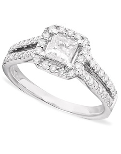 1 1/3cttw diamond Engagement ring  with a princess cut center in 14k white gold.