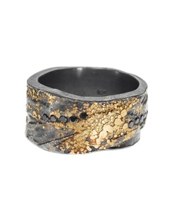 22ky gold, sterling silver with patina, black brilliants