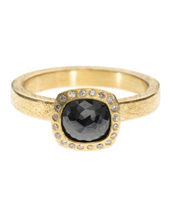 18ky gold, black fancy cut diamond, white brilliants