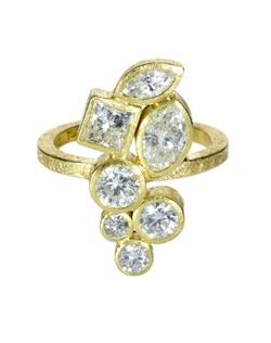 18ky gold, white princess cut diamonds