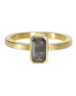 18ky gold, black fancy cut diamond