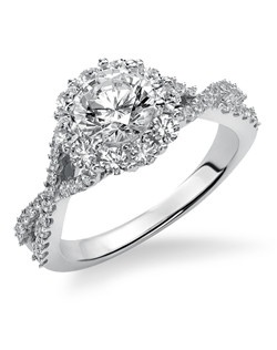 14kt White Gold 1 1/2 Ladies Engagement Ring. With Round Prong  Set diamonds