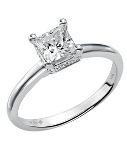 14kt White 1.00 ctw Ladies Princes and Round Diamond Engagement Ring