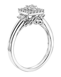 14kt White 1/3 ctw Ladies Princes and Round Diamond Engagement Ring