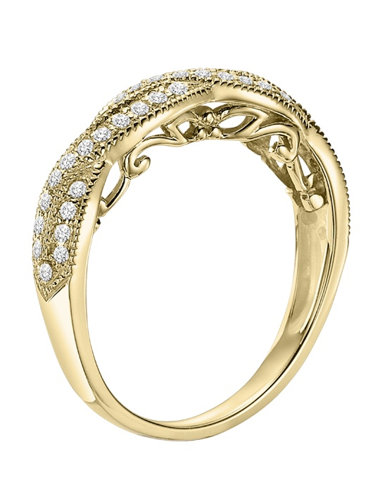 14kt Yellow Gold 1/3 ctwWedding Band  with Round Prong set Diamonds
