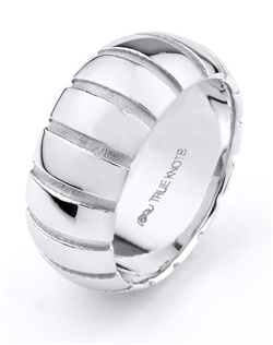 What's your story? It may be expressed with this 10mm wedding band designed by TRUE KNOTS for the TRUE MAN® collection. This wedding band may be customized to your desired width, finish, and metal type. Available in platinum, gold, and palladium.