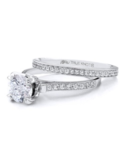 Steeped in tradition and designed to emanate the warmth, the sparkle and the light of diamonds in a pave set bridal jewelry collection. Featured is a 14K engagement set sparkling with 0.48tcw of  round diamonds. All from The Knot Collection. Available in platinum and gold.