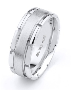 What's your story? It may be expressed with this 8mm wedding band designed by TRUE KNOTS for the TRUE MAN® collection. This wedding band may be customized to your desired width, finish, and metal type. Available in platinum, gold, and palladium.
