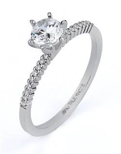 Steeped in tradition and designed to emanate the warmth, the sparkle and the light of diamonds in a pave set bridal jewelry collection. Featured is a 14K white gold wedding band sparkling with 0.08tcw of  round diamonds. All from the Love is Light collection. Available in platinum and gold.
