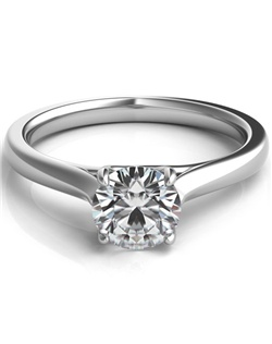 This beautiful 14k white gold solitaire setting features intertwining prongs with a round brilliant cut center stone.