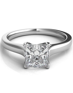 A classic style in 14k white gold featuring intertwining prongs that will show off your princess cut diamond.
