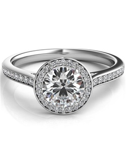 This stylish 14k white gold setting features a thin row of pave set round brilliant cut diamonds leading up to a pave halo around a round brilliant cut diamond.