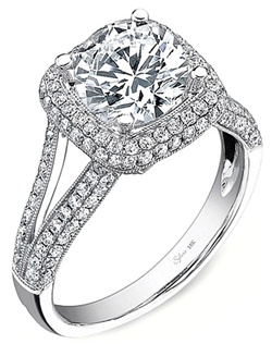 This diamond engagement ring setting by Sylvie features two rows of pave set round brilliant cut diamonds along a split shank as well as around the center stone of your choice.