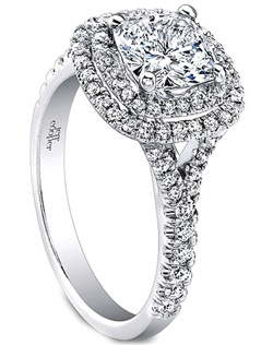This beautiful diamond engagement ring setting by Jeff Cooper features round brilliant cut diamonds pave set in a double halo around the center stone of your choice as well as down a split shank.