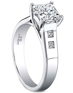 This modern trellis engagement ring setting by Jeff Cooper features four burnished princess cut side diamonds and will perfectly show off your choice of a center diamond. This setting is also available in two larger versions; please call for pricing.