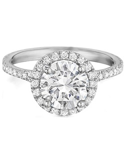 This beautiful diamond engagement ring by Henri Daussi has a diamond halo made to fit perfectly around the diamond you choose. There are also pave set diamonds down the band.