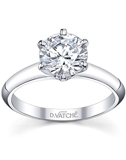 This simple engagement ring by Vatche has a classic six prong setting that holds the center stone of your choice. The plain shank draws your eye to the center diamond.