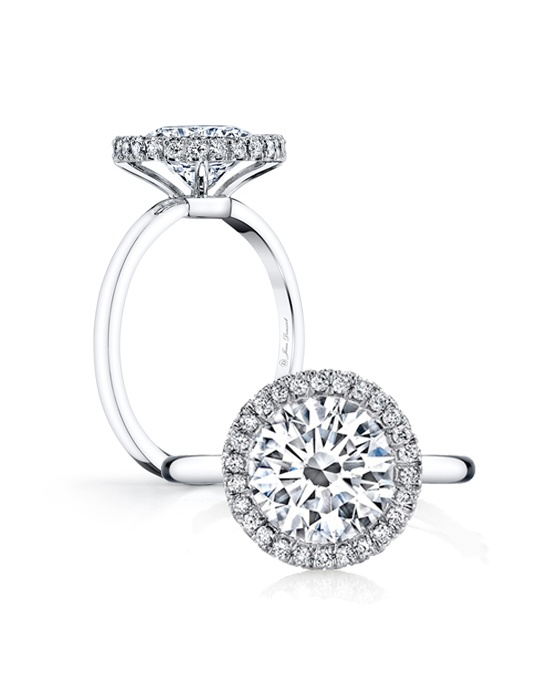 Handcrafted, custom made Jean Dousset signature design.  Available in all diamond cuts - Shown with a Round Brilliant Cut and Cushion Cut diamond center stones.  Available in platinum or 18k gold - Pictured in Platinum.  Includes your choice of damond or gem Signature Stone, exclusively by Jean Dousset.