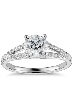 Brilliance defined, this diamond engagement ring features round diamonds set in a split shank design of 14k white gold. Price listed below is for the setting only.