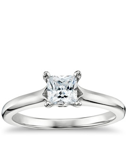 Show your love with this 14k white gold engagement ring, featuring a split shank and your choice of center diamond. Price listed below is for the setting only.