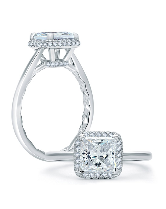 a jaffe quilted pave princess cut halo engagement ring