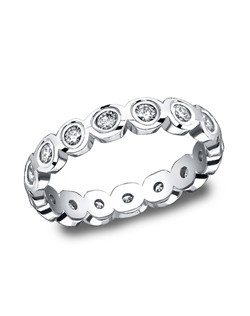 This unique 4mm burnish set high polished diamond eternity band features a scallop-shaped design with 16 round ideal-cut diamonds. Total diamond carat weight is approximately .96ct.
