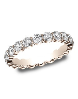 This elegant 3mm 14 karat white gold shared prong diamond eternity band features 120round ideal cut diamonds. Total approximate carat weight is 2.20