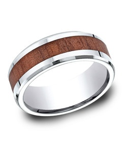 This awesome 8mm high-polished comfort-fit Cobalt band features a wood grain inlay and beveled edges.