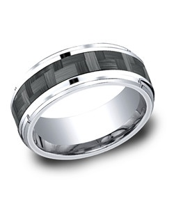 This unique 8mm comfort-fit Cobalt band features a carbon fiber center inlay with high polished beveled round edges that is both sleek and subtle.