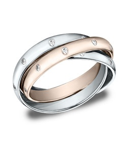 These remarkable diamond 3mm bands maintain a truly traditional straight inside and original profile while interlocked.
