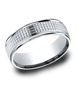 This remarkable 7mm White Gold band features an extraordinary carved satin center.